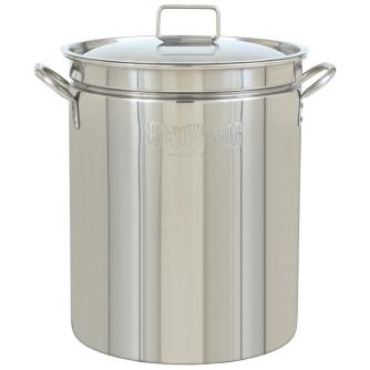 A deep stainless steel pot
